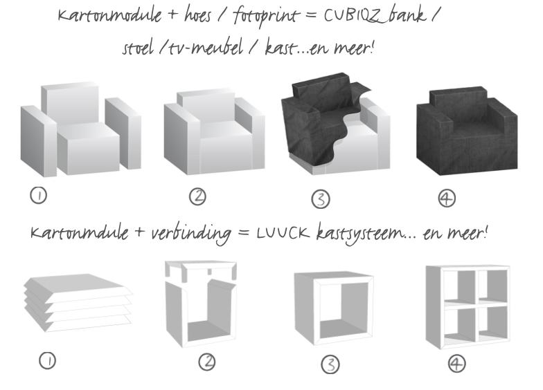 CUBIQZ kartonnen meubelen, montage en installatie