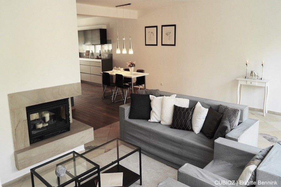20 . Verkoopstyling met CUBIQZ kartonnen meubels. Door de realistische afmeting van de meubels kunnen ze ook prima gecombineerd worden met echte meubels